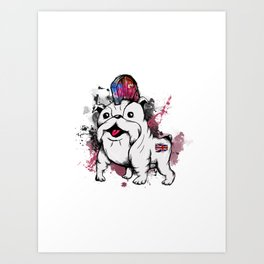 Punk Bulldog Art Print