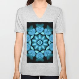 Blue Green Heart Mandala Kaleidoscope Pattern Unisex V-Neck