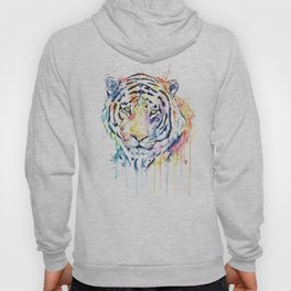 Tiger - Rainbow Tiger - Colorful Watercolor Painting Hoody