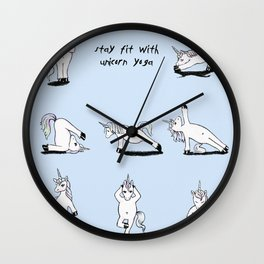 Unicorn Yoga (blue) Wall Clock