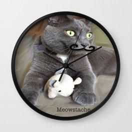 Meowstache Wall Clock