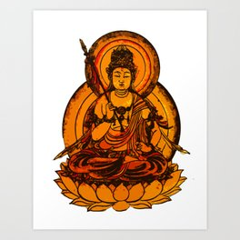 Yellow Buddha Illustration Art Print