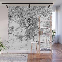 Helsinki White Map Wall Mural