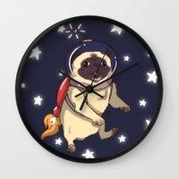 interstellar Wall Clocks featuring Interstellar by Lixxie Berry Illustration