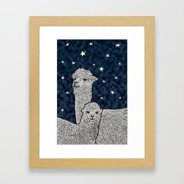 Alpacas on a starry night Framed Art Print