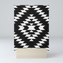 Urban Tribal Pattern No.14 - Aztec - Black Concrete Mini Art Print
