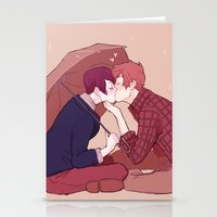 yaoi Stationery Cards featuring kiss under the umbrella by elvishness