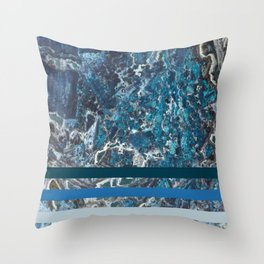 Deep Ocean Marble Throw Pillow