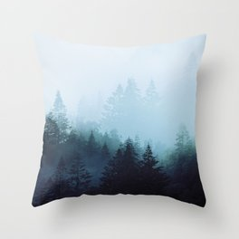 Welsh Trees In The Mists Throw Pillow