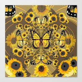 BLACK-GOLD MONARCHS SUNFLOWER ART Canvas Print