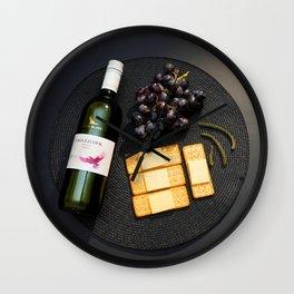 Wine and Cheese - Minimalist Kitchen Photography Wall Clock