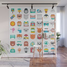 CUTE ZOO ANIMALS PATTERN Wall Mural