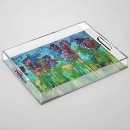 Abstract Flowers Acrylic Tray