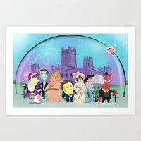 downton abbey Art Prints featuring Downton Abbey Under the Sea by Alyssa Bermudez