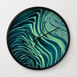 Lagoon Acrylic Tree Ring Pour Painting Wall Clock