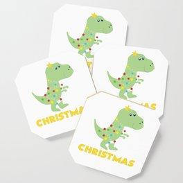 Christmas Tree T Rex Dinosaur Funny Gift Coaster