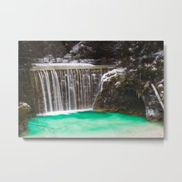 Waterfall stunning turquoise water lake Jasna, Slovenia Metal Print