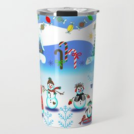 Festive Block Party Clear Skies, Christmas and Holiday Fantasy Collection Travel Mug