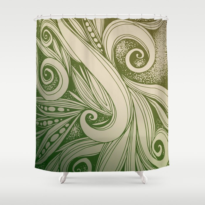 Tangled curves, olive Shower Curtain