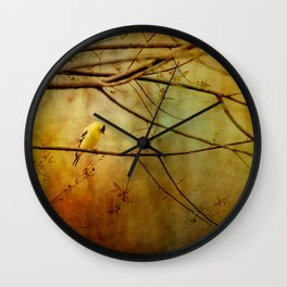 Yellow Songbird in Morning Prayer Wall Clock