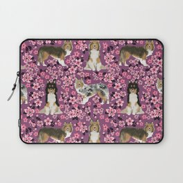 Shetland sheepdog sheltie cherry blossom floral flowers florals dog breed dogs Laptop Sleeve