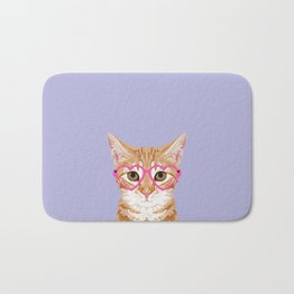 Mackenzie - Orange Tabby Cute Hipster Glasses Kitten Lavender Pastel Girly Retro Cat Art cell phone Bath Mat