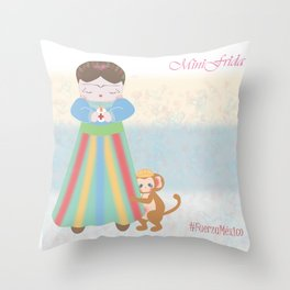 Fuerza Mexico by Mini Frida Throw Pillow