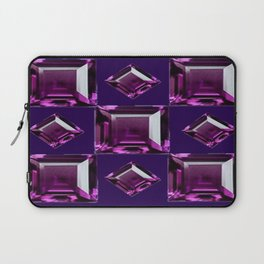 Dark Purple Amethyst  February Birthstone Gems Pattern  Laptop Sleeve