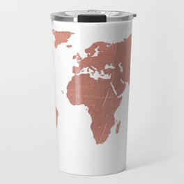 Faux Rose Gold World Map Travel Mug