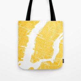 Yellow City Map of New York, USA Tote Bag