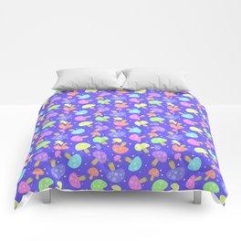 Pastel Rainbow Kawaii Mushroom Pattern Comforters