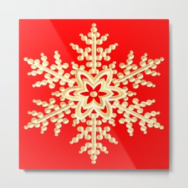 Snowflake in a Red Field Gift Metal Print