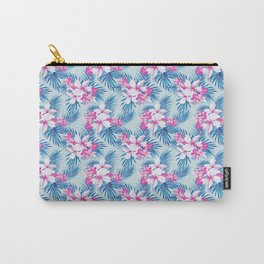 Tropical Explosion - Pink Hibiscus and Plumerias on Blue Palms Carry-All Pouch