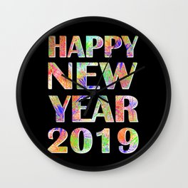 Happy New Year 2019 New Year's Eve Party Gift Wall Clock