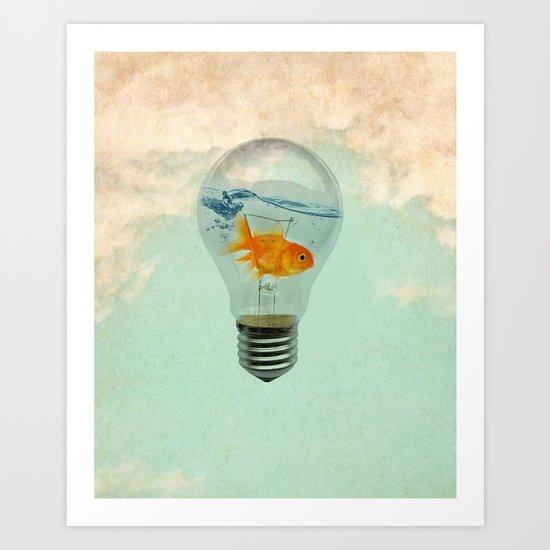 goldfish thinking Art Print