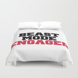 Beast Mode Engaged Gym Quote Duvet Cover