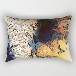 Mandala Elephant Paint Rectangular Pillow