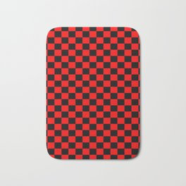 Red Black Checker Boxes Design Bath Mat