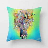 archan nair Throw Pillows featuring Revival by Archan Nair