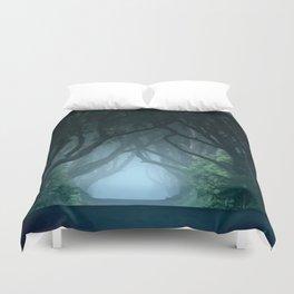 Cold foggy morning in Dark Hedges Duvet Cover