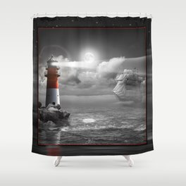 Lighthouse and Sailboat under moonlight Shower Curtain