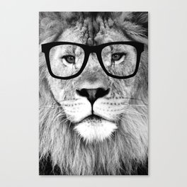 Hippest Lion with glasses - Black and white photograph Canvas Print