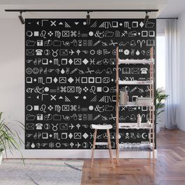 Wingdings Symbols Black Background White Font Wall Mural