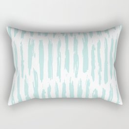 Vertical Dash Stripes Succulent Blue and White Rectangular Pillow