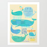 calender Art Prints featuring Wale Calender 2015 by Darling Planet Earth