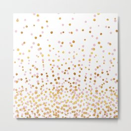 Floating Dots - Pink and Gold on White Metal Print