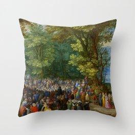 "Jan Brueghel the Elder ""The Sermon on the Mount"" Throw Pillow"