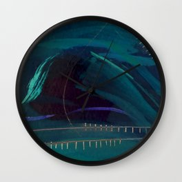 Electric: abstract | mixed media | high contrast | dark blue | green | purple | white | digital | Wall Clock