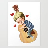 niall Art Prints featuring Niall LOVE by RUBYCURLS