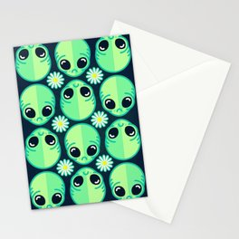 Sad Alien and Daisy Nineties Grunge Pattern Stationery Cards
